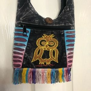 Crossbody Mini Purse Bag Handmade Cotton Bohemian Patchwork Owl Embroidery